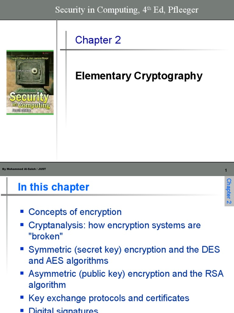 Chapter 2 - Elementary Cryptography ppt | Cryptography | Cipher