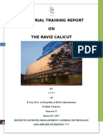 Industrial Training Report on the Raviz Calicut Hotel