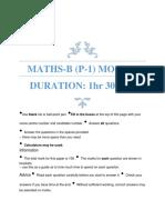 Maths B (P-1) Mock-2