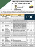 Resultados Convocatoria Pesca Acuicultura 2011