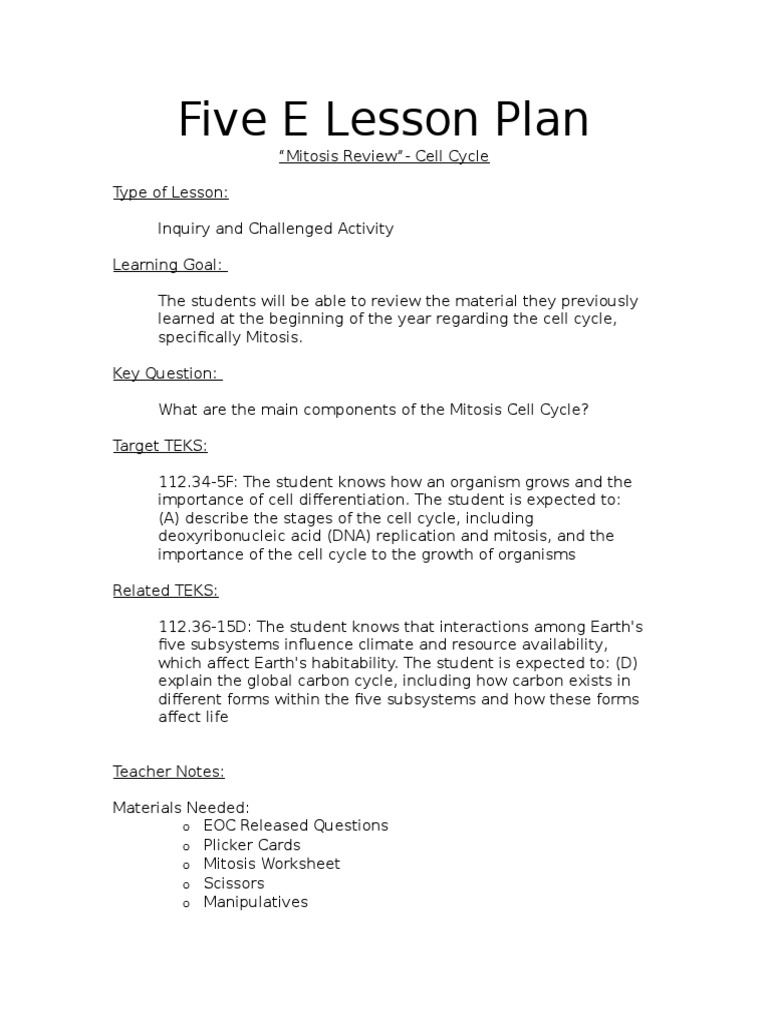 worksheet Cell Cycle And Mitosis Worksheet Answers five e lesson plan mitosis review cell cycle