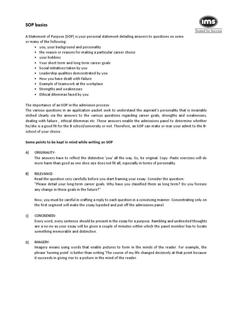 sop guidelines essays mind