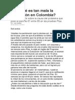¿Por qué es tan mala la educación en Colombia