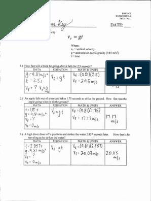 Free Fall Worksheet T D V Great Answer Key