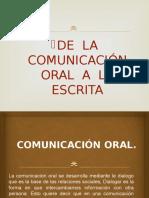De La Comunicacion Oral a La Escrita