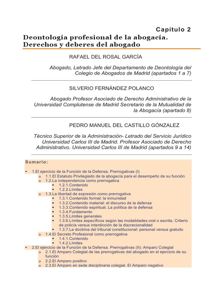 Capítulo II-Deontología profesional de la abogacía. Derechos y ...