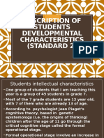 ra description of students developmental characteristics   standard 2