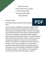 Richard Painter Hatch Act Complaint Re FBI
