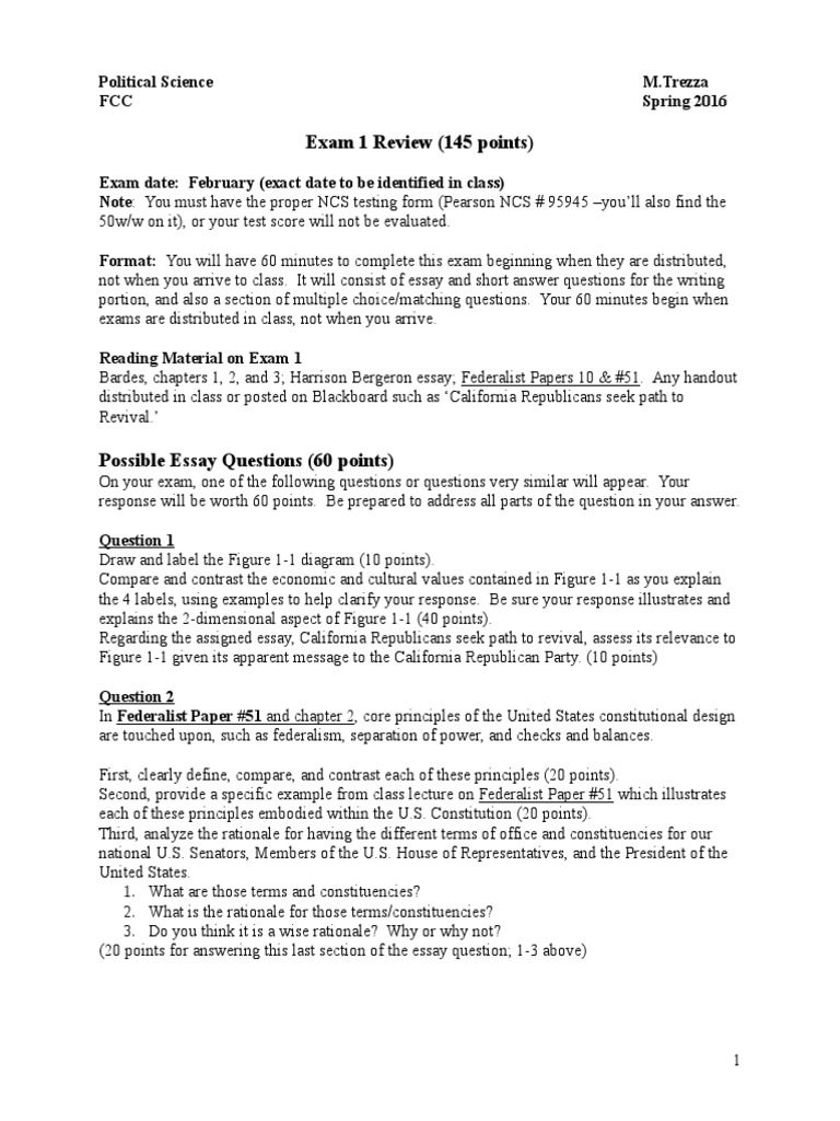fresno city college polisci exam review federalism the fresno city college polisci 2 exam 1 review federalism the federalist papers
