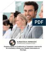 Programa Superior de Certificación en Tratamiento e Intervención de la Ansiedad y el Estrés para Titulados Universitarios en Psicología