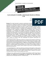 A Precarização Do Trabalho e Da Formação Docente No Sistema UAB