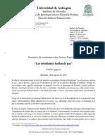 Seminario de Estudiantes Sobre Justicia Transicional - Call for Papers