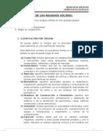 Clasificación y Características de Los Residuos Sólidos