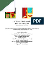 2010 Park Day Schedule
