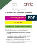 AMIC 2017 - Convocatoria, Universidad de Guanajuato