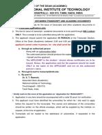 Transcript Academic Documents