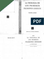 Jaeger La Teologia de Los Primeros Filosofos Griegos