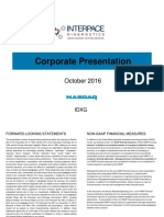 Interpace Diagnostics (Idxg) Investor Presentation Oct 2016
