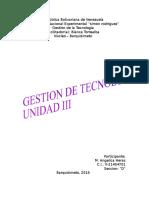 GESTION DE LA TECNOLOGIA - Unidad III