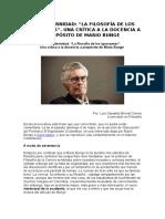 Posmodernidad, La Filosofía de Los Ignorantes. Una Crítica a La Docencia a Propósito de Mario Bunge. Luis Oswaldo Bernal Correa