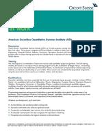 2017 Securities QSI Job Description