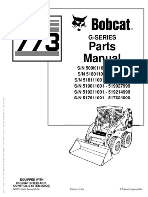 Bobcat Compact Mini Excavator 773 G-Series Parts Manual | Business