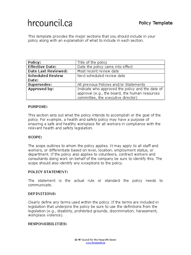 Policy Template Policy Occupational Safety And Health