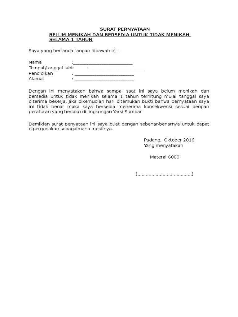 Format Surat Pernyataan Belum Pernah Menikah