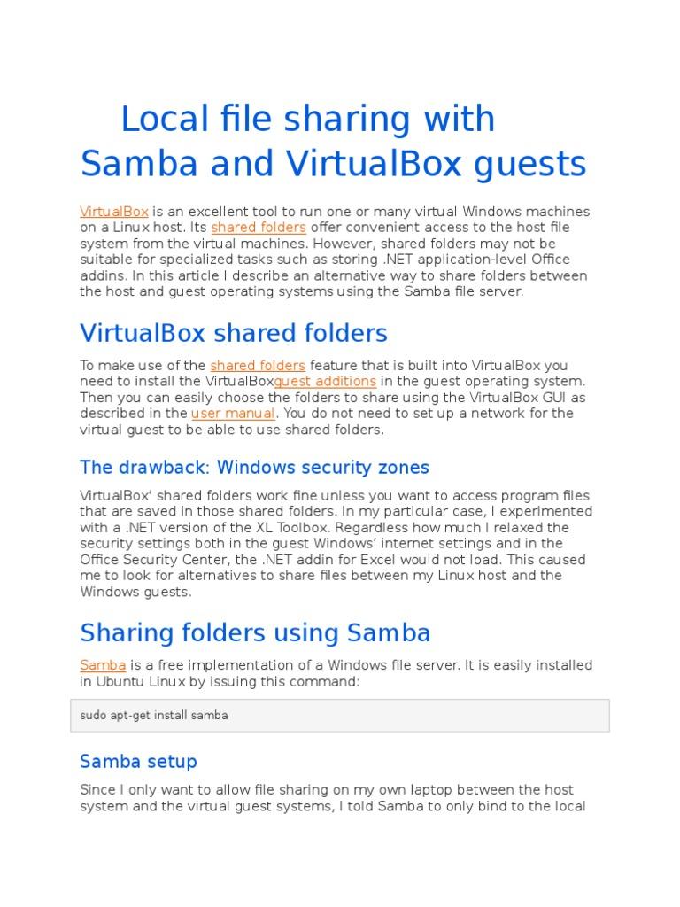 Local File Sharing With Samba and VirtualBox Guests