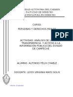 Análisis de La Ley de Transparencia y Acceso a La Información Pública Del Estado de Campeche