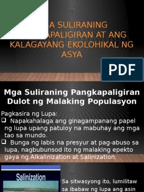 Mga Suliraning Pangkapaligiran at ang Kalagayang Ekolohikal