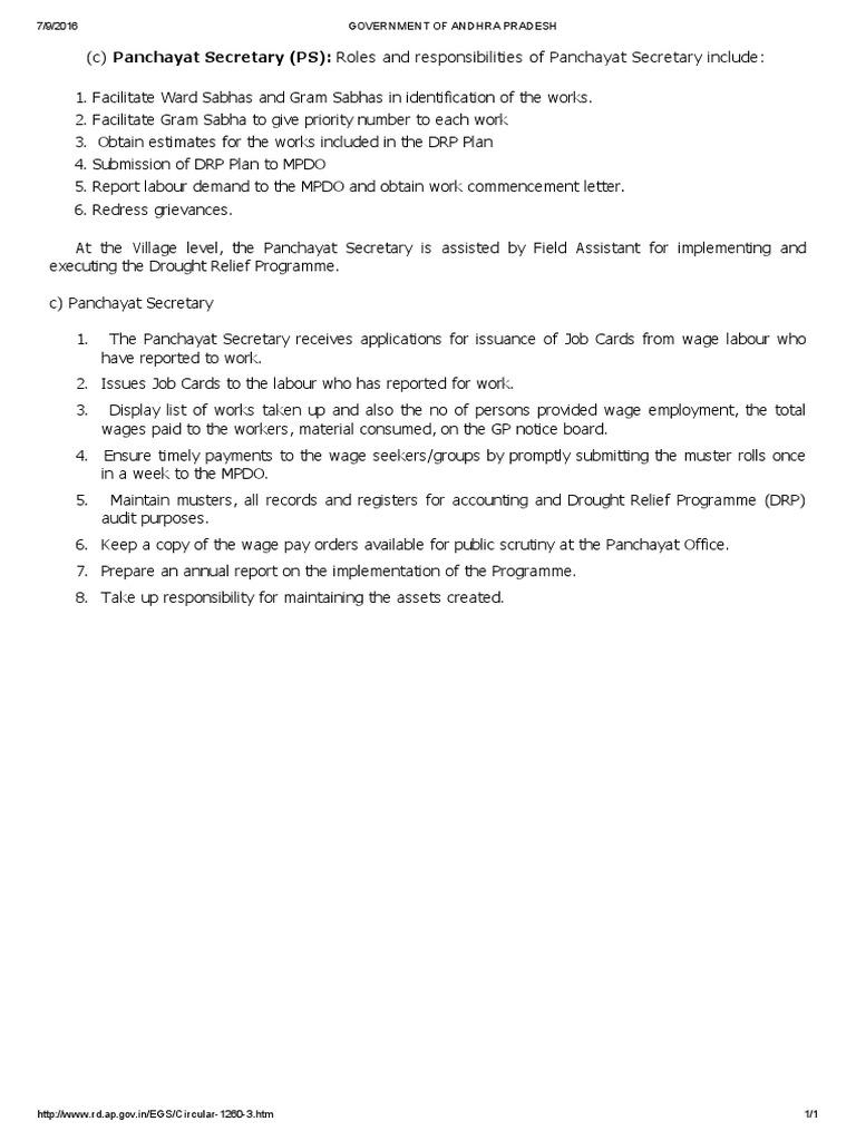 Roles and Responsibilities of Panchayat Secretary
