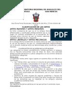 Clasificacion de Las Artes