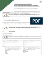 Evaluación de Lenguaje Los Pronombres Adecuada