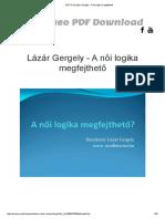 PDF Print Lázár Gergely - A Női Logika Megfejthető