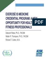 2012 Exercise is Medicine Certificate Program Presentation