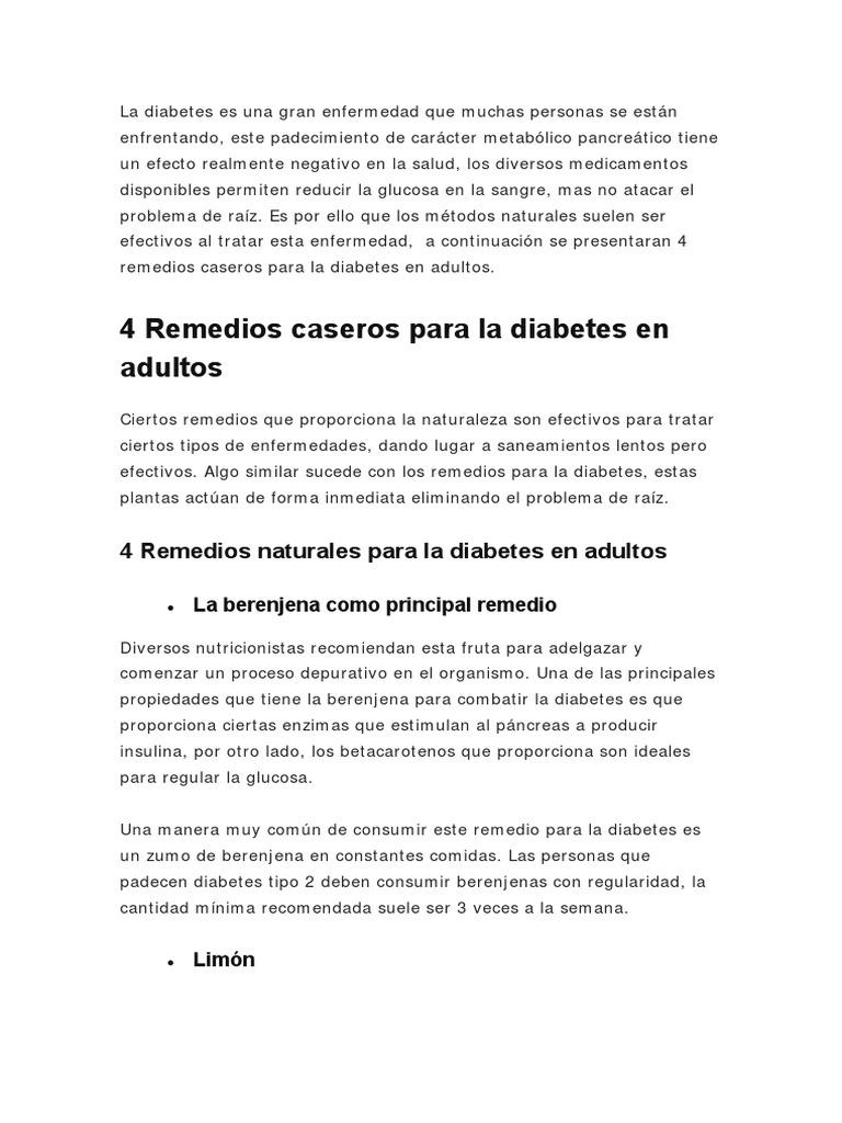 remedios caseros para la diabetes en adultos