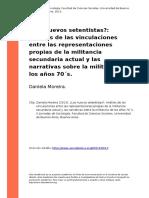 Los Nuevos Setentistas o Analisis de Las Vinculaciones Entre Las Representaciones Propias de La Militancia Secunda... Daniela Moreira (2013).