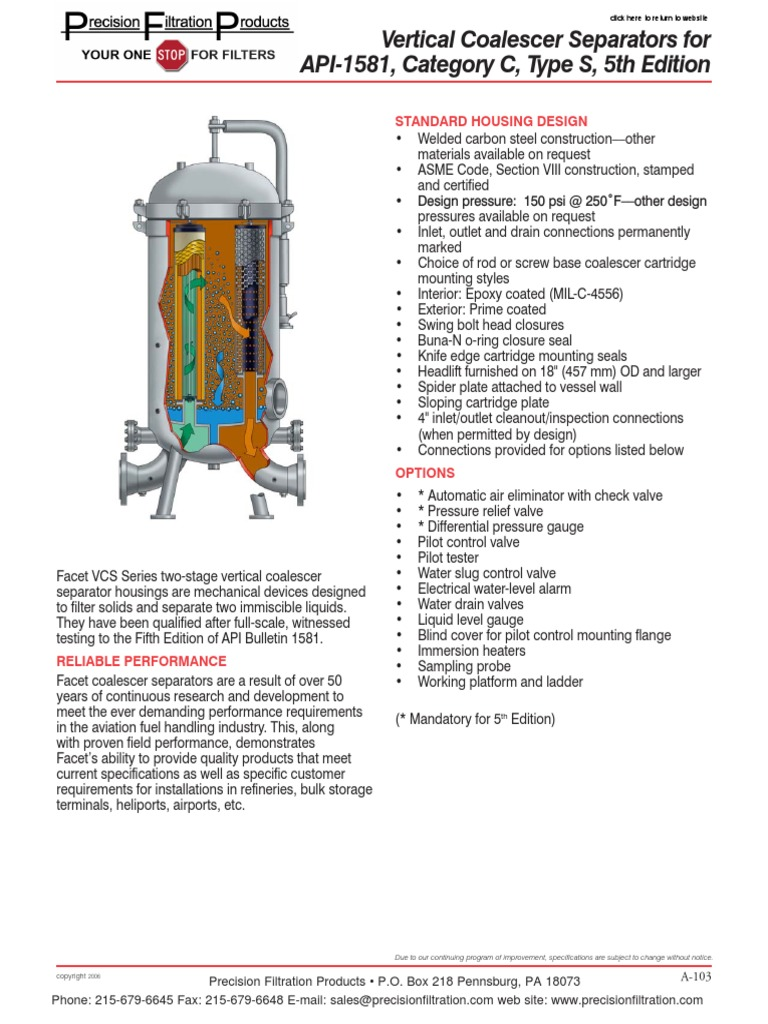 Vertical Coalescer Separators for API-1581 Category C Type S