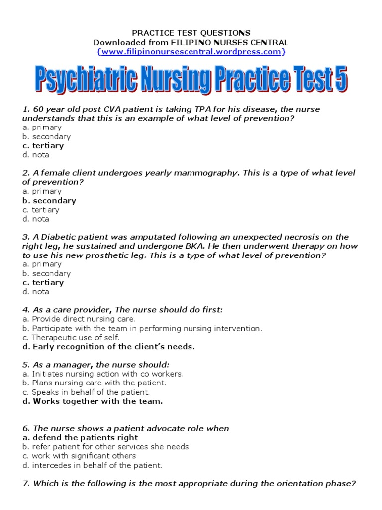 psychiatric nursing practice test 5 clozapine preventive healthcare