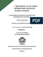 Dynamic Resource Allocation Cognitive Radio