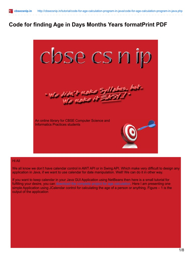 Java programming tutorials pdf images any tutorial examples cbsecsnip code for finding age in days months years formatprint cbsecsnip code for finding age in baditri Choice Image