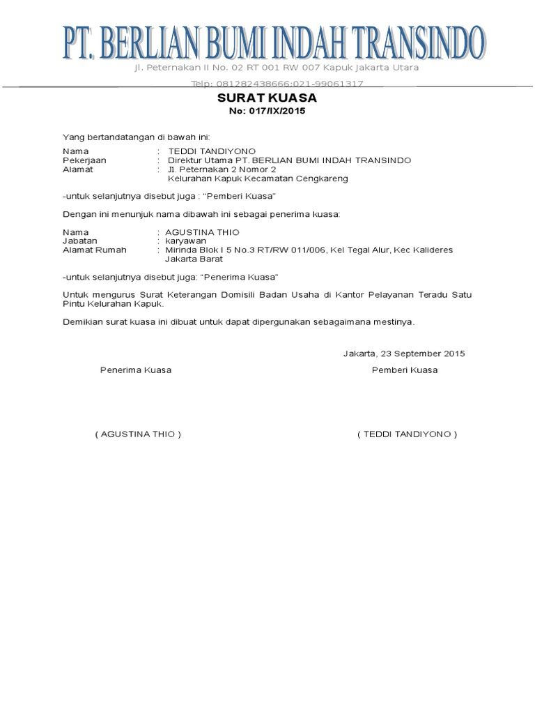 Surat Kuasa No 017ix2015