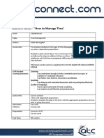 Teachers Notes How to Manage Time