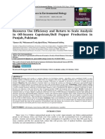 Resource Use Efficiency and Return to Scale Analysis in Off-Season Capsicum/Bell Pepper Production in Punjab, Pakistan