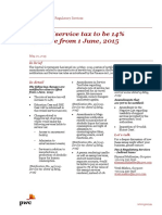 Pwc News Alert 20 May 2015 Rate of Service Tax to Be 14 Percent Effective From 1 June 2015