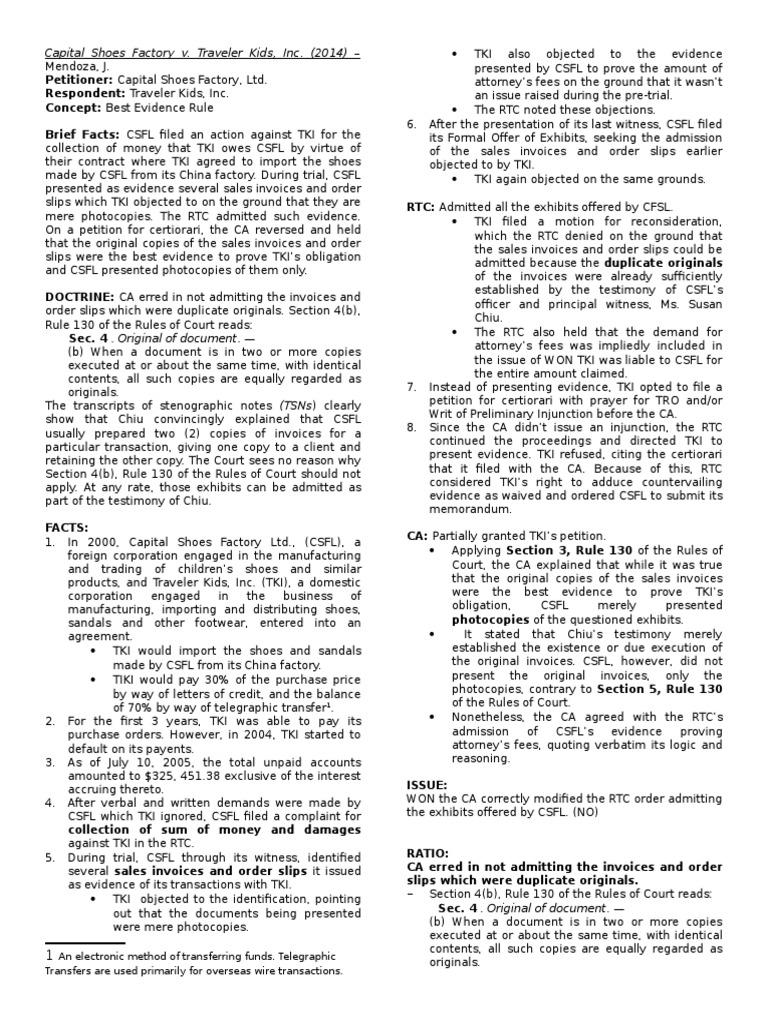 34 - Capital Shoes Factory v. Traveler Kids, Inc | Evidence | Certiorari