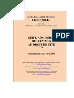 Nicolas de Caritat, Marquis de Condorcet - Sur l'admission des femmes au droit de cité.pdf