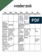 Calendar, November 2016