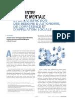 Le lien entre la santé mentale et la satisfaction des besoins d'autonomie, de compétence et d'affiliation sociale